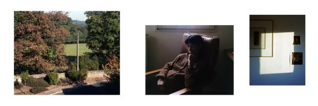 "Triptych ""M 96"" Three photos: A landscape, a pregnant woman, light coming in through the window creating a white frame"