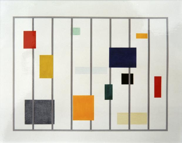 painting by Jean-Louis Garnell: rectangles in different sizes and colors
